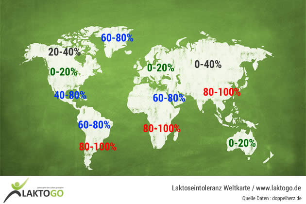 Laktoseintoleranz Weltkarte